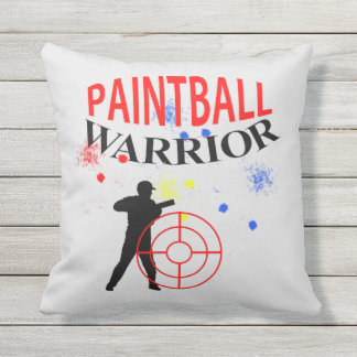 Paintball Warrior Themed Graphic Throw Pillow