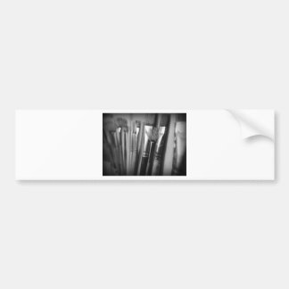 Paintbrushes Paint Art Creative Black and White Bumper Sticker