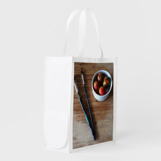 Painted Abstract Quail Eggs Reusable Grocery Bag
