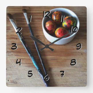 Painted Abstract Quail Eggs Square Wall Clock