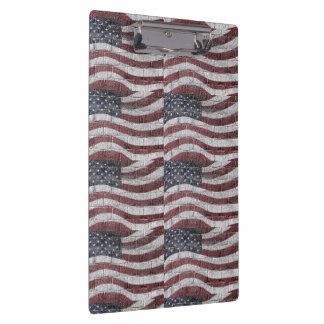Painted American Flag on Brick Wall Texture Clipboard