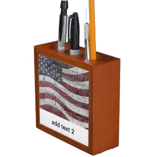 Painted American Flag on Brick Wall Texture Desk Organizers