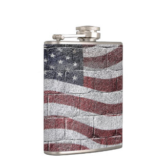 Painted American Flag on Brick Wall Texture Flask