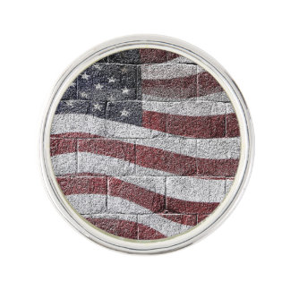 Painted American Flag on Brick Wall Texture Lapel Pin