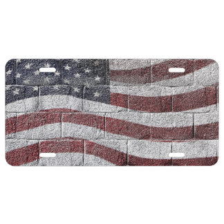 Painted American Flag on Brick Wall Texture License Plate