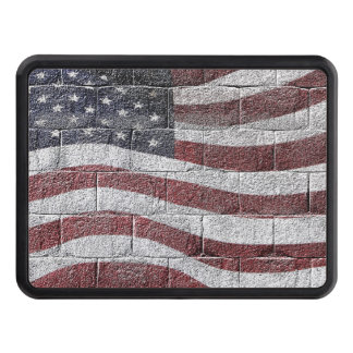 Painted American Flag on Brick Wall Texture Tow Hitch Cover