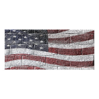 Painted American Flag on Brick Wall Texture Rack Card Template