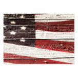 Painted American Flag on Rustic Wood Texture Business Cards