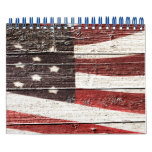 Painted American Flag on Rustic Wood Texture Calendars