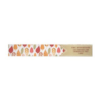 Painted Autumn Leaves Pattern Wrap Around Label