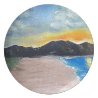 Painted Beach Scene Plate
