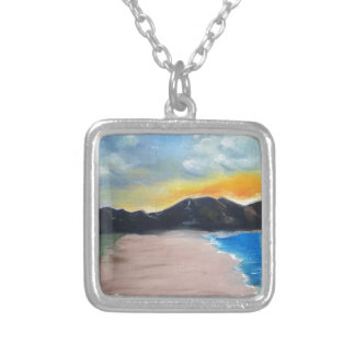 Painted Beach Scene Silver Plated Necklace