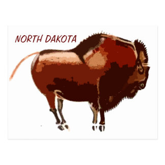 painted bison North Dakota postcard