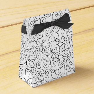 Painted Black Curvy Pattern on White Favor Box