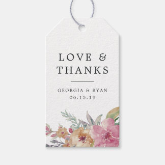 Painted Blooms Wedding Thank You Favor Gift Tags