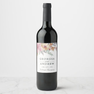 Painted Blooms Wedding Wine Label