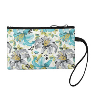 Painted Blue Lilies Pattern Coin Wallets