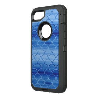 Painted Blue Scale Pattern Gradient OtterBox Defender iPhone 8/7 Case
