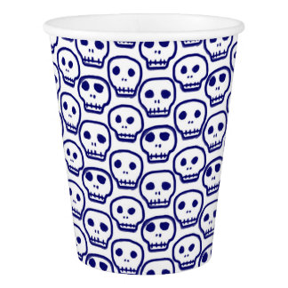 Painted Blue Skulls Paper Cup