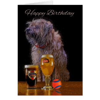 Painted Border Terrier Birthday Greeting Card