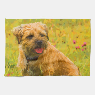 "Painted, Border Terrier Kitchen Towel 16"" x 24"""
