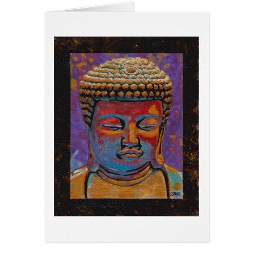 Painted Buddha, Framed Greeting Card