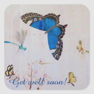 Painted butterflies square sticker