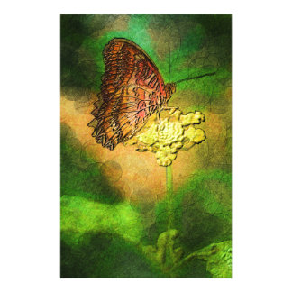 Painted Butterfly on Flower Stem Stationery Paper