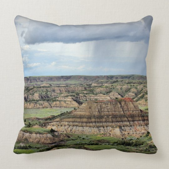 Painted Canyon in the Badlands of North Dakota Throw Pillow