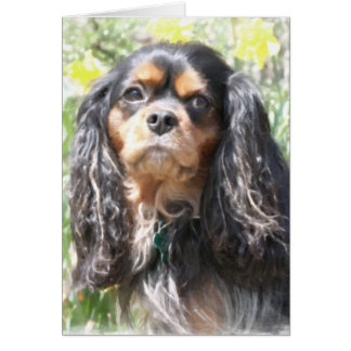 Painted Cavalier King Charles Spaniel Card