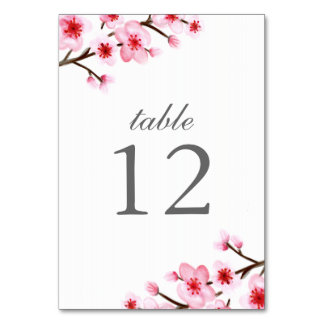 Painted Cherry Blossoms Table Number Cards