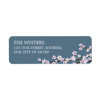 Painted Cherry Blossoms Wedding Return Address Label