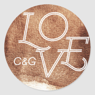 Painted copper color love modern simple monogram classic round sticker