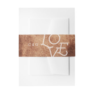 Painted copper color modern simple wedding invitation belly band