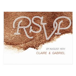 Painted copper color modern simple wedding RSVP Postcard