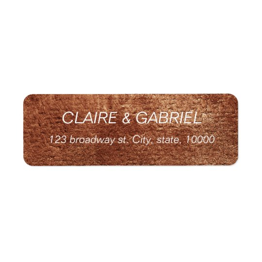 Painted copper colour modern simple return address