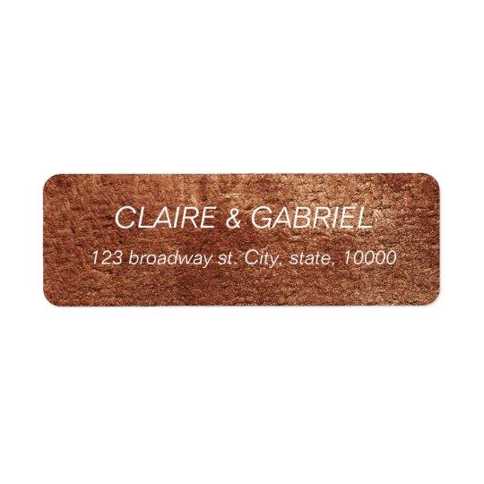 Painted copper colour modern simple return address return address label