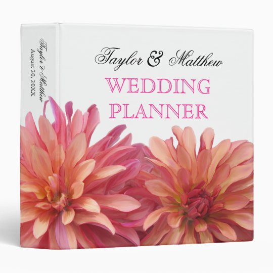 Painted Dahlia Floral Wedding Planner 1.5 Inch Vinyl Binders