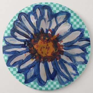 Painted Daisies, on Teal Checkered Background 6 Inch Round Button