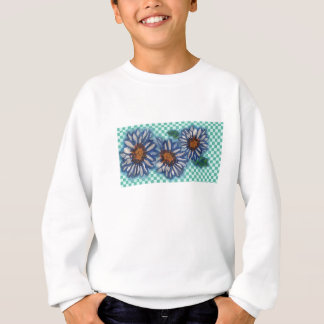 Painted Daisies, on Teal Checkered Background Sweatshirt