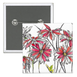 Painted Daisy Flowers Botanical Art Ink Drawing 2 Inch Square Button