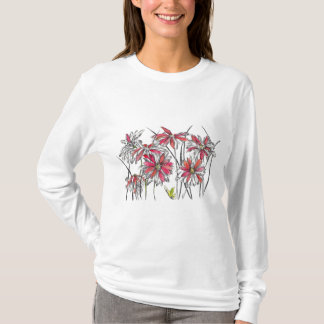Painted Daisy Flowers Botanical Art Ink Drawing T-Shirt