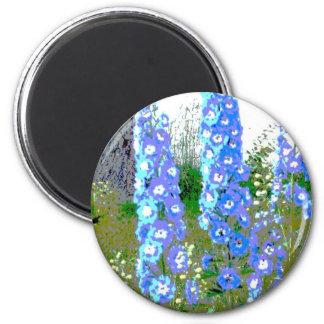 Painted Delphinium 2 Inch Round Magnet