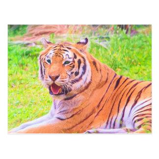 Painted Digital Siberian Tiger Postcard