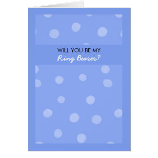 Painted Dots blue Be My Ring Bearer Card