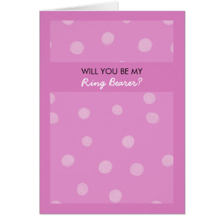 Painted Dots pink Be My Ring Bearer Card