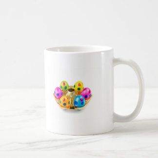 Painted easter eggs in gold tray isolated on white coffee mug