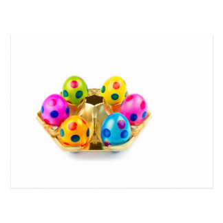 Painted easter eggs in gold tray isolated on white postcard