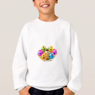 Painted easter eggs in gold tray isolated on white sweatshirt