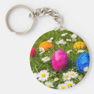 Painted easter eggs in grass with daisies basic round button keychain